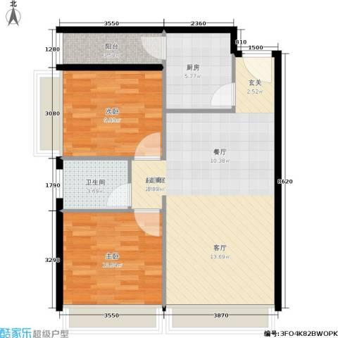 MOHO蜂巢2室0厅1卫1厨86.00㎡户型图
