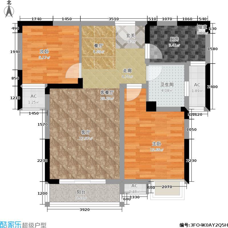 圣力华苑户型2室1厅1卫1厨