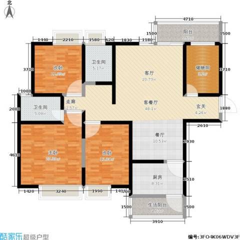 华城万象2期-彩虹城3室1厅2卫1厨150.00㎡户型图