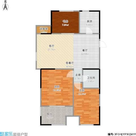 方正荷塘月色3室1厅1卫1厨112.00㎡户型图