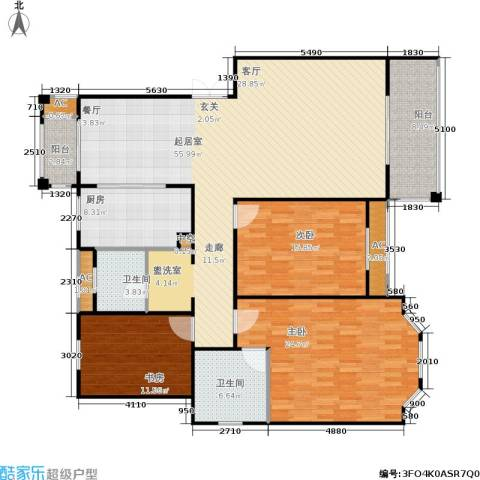 长房星城世家 长房3室0厅2卫1厨153.00㎡户型图
