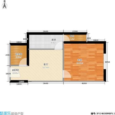 中山国际1室0厅1卫1厨40.00㎡户型图