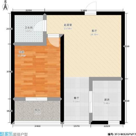 山水龙庭1室0厅1卫1厨57.00㎡户型图