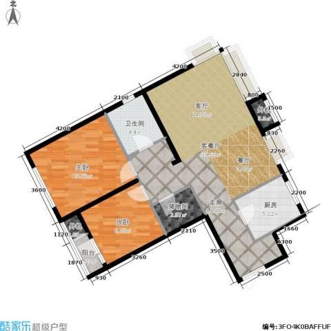 万科城三期2室1厅1卫1厨104.00㎡户型图