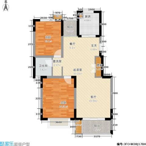 龙湖文馨苑2室0厅1卫1厨98.00㎡户型图