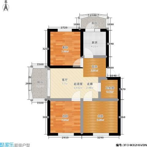 穆家新区3室0厅1卫1厨75.00㎡户型图