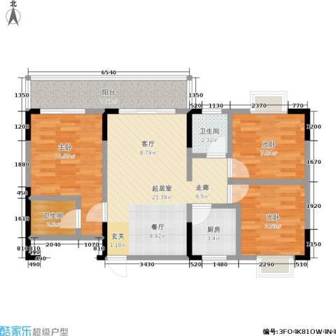 马王新苑・易家3室0厅2卫1厨74.00㎡户型图