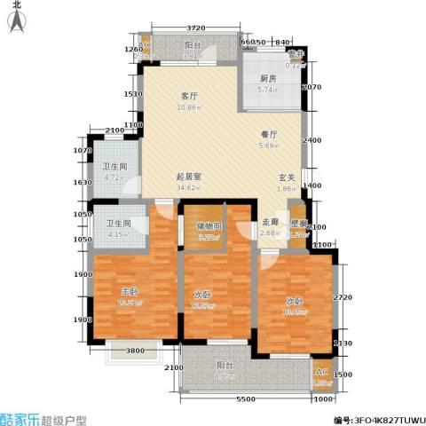 龙湖文馨苑3室0厅2卫1厨114.00㎡户型图