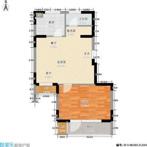 龙湖文馨苑1室0厅1卫1厨53.19㎡户型图