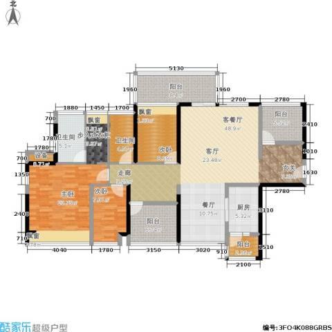 莱蒙水榭春天3室1厅2卫1厨150.00㎡户型图