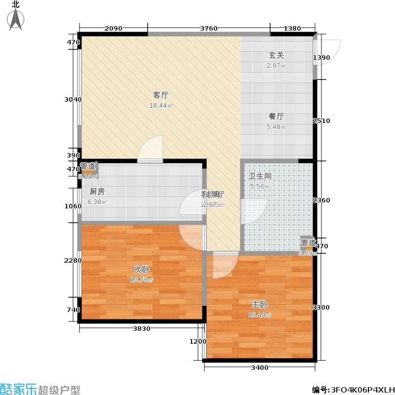 阳光100国际新城一期户型2室1厅1卫1厨