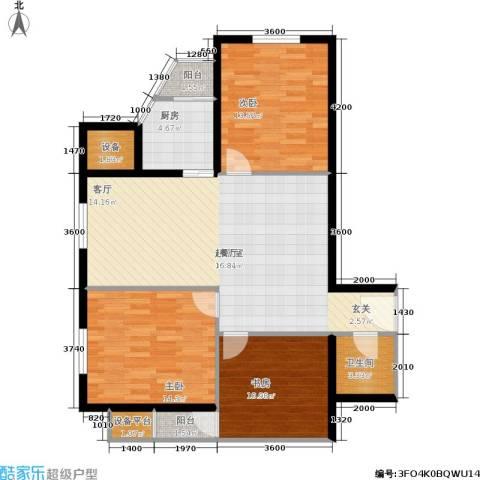 中山国际3室0厅1卫1厨120.00㎡户型图
