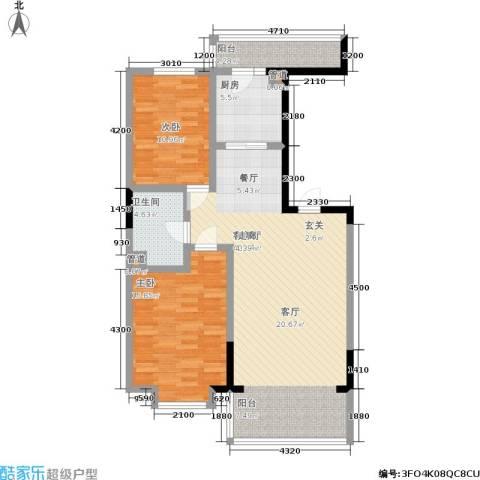橄榄城2室1厅1卫1厨117.00㎡户型图