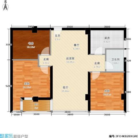 金港国际城3室0厅1卫1厨85.00㎡户型图