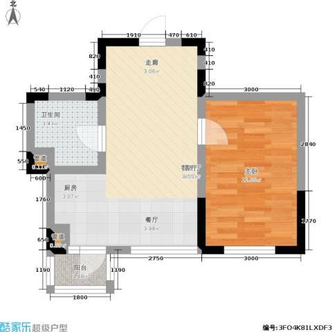 橄榄城1室1厅1卫0厨54.00㎡户型图
