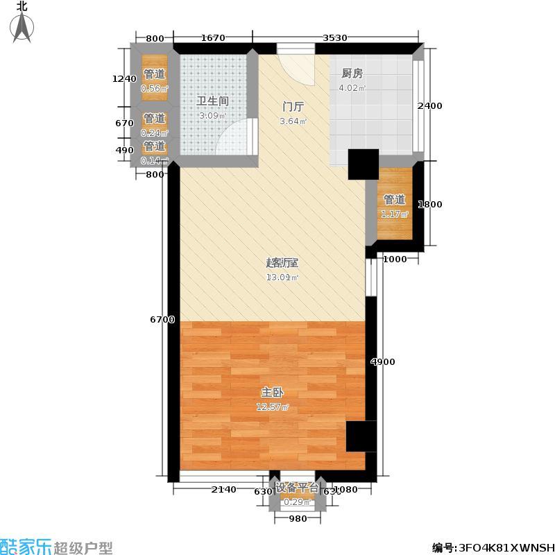 雄海雅苑58.69㎡5-14层B-6一居室户型