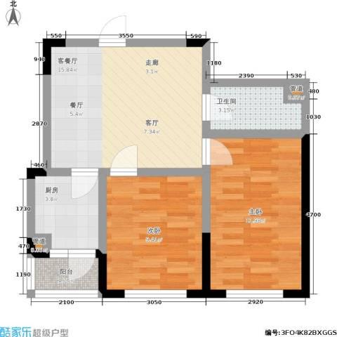 橄榄城2室1厅1卫1厨68.00㎡户型图