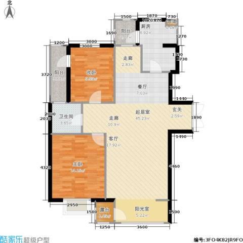 嘉润东方香榭里2室0厅1卫1厨121.00㎡户型图