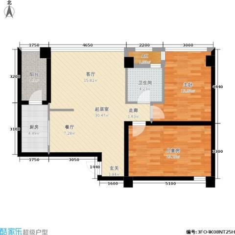 金港国际城2室0厅1卫1厨72.32㎡户型图