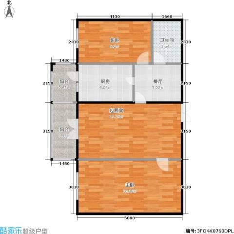蓝天荣府2室1厅1卫1厨69.70㎡户型图