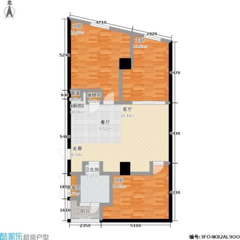 大舜天成自由城3室0厅1卫0厨89.68㎡户型图
