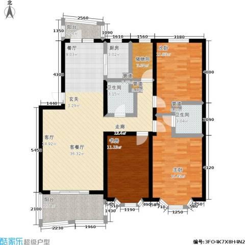 湖畔绿色家园3室1厅2卫1厨140.00㎡户型图
