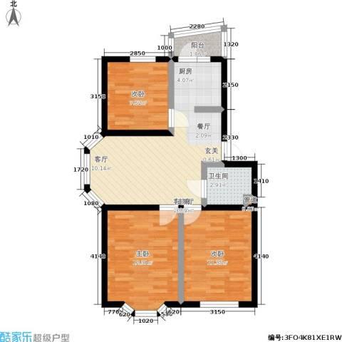 湖畔绿色家园3室1厅1卫0厨83.00㎡户型图