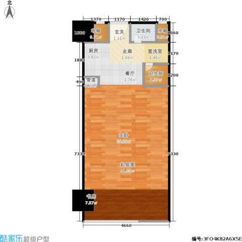 美加华公寓2卫0厨63.00㎡户型图