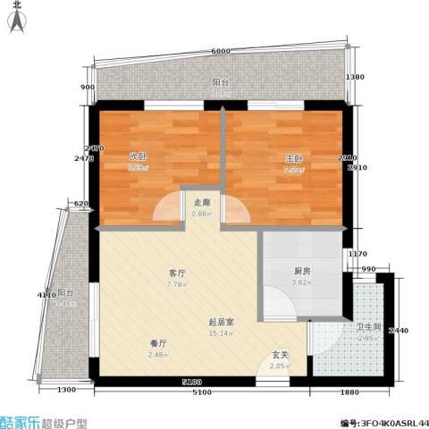 金港国际城2室0厅1卫1厨53.00㎡户型图