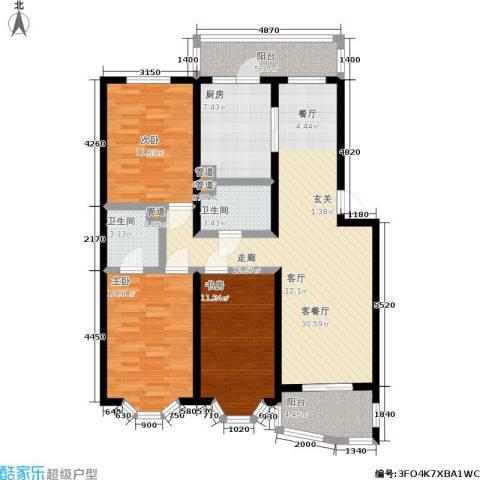 湖畔绿色家园3室1厅2卫1厨133.00㎡户型图