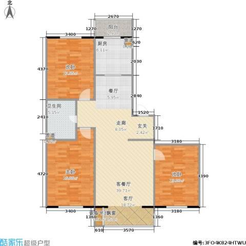 君悦美景3室1厅1卫1厨110.00㎡户型图