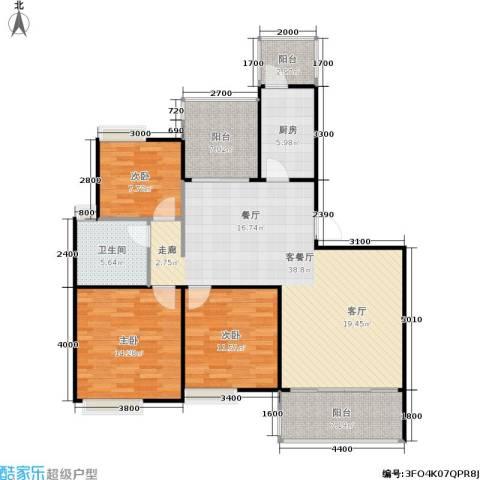 朗悦湾3室1厅1卫1厨101.09㎡户型图