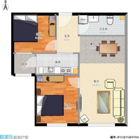 首创・悦都汇2室1厅1卫1厨78.00㎡户型图