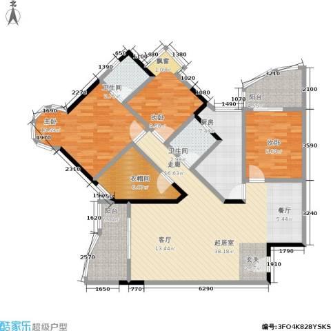 渝安龙都20053室0厅2卫1厨107.00㎡户型图