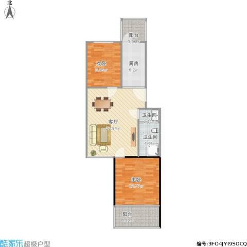 草桥欣园2室1厅2卫1厨87.00㎡户型图