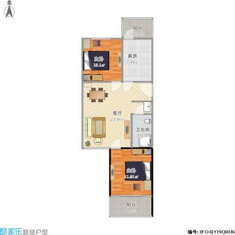 草桥欣园2室1厅1卫1厨88.00㎡户型图