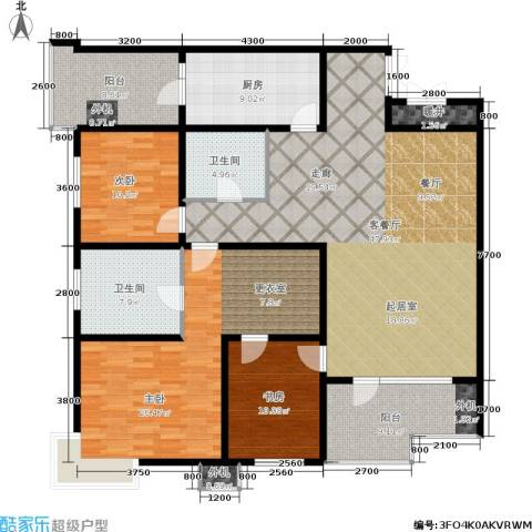 万科城三期一区3室1厅2卫1厨190.00㎡户型图