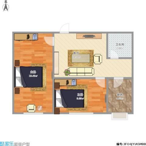 漪汾小区2室1厅1卫1厨65.00㎡户型图