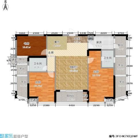 美林・银谷3室1厅2卫1厨134.00㎡户型图
