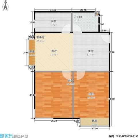 富雅豪临2室1厅1卫1厨89.00㎡户型图