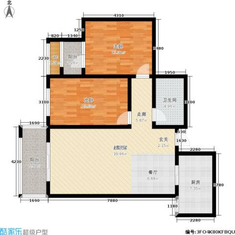 北杜花园二期2室0厅1卫1厨97.00㎡户型图