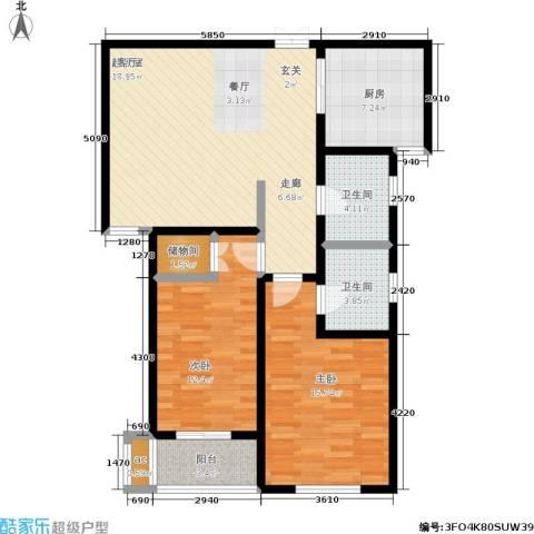 北杜花园二期2室0厅2卫1厨93.00㎡户型图