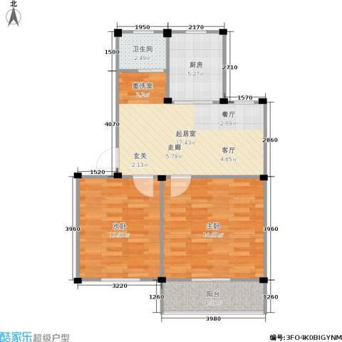 龙海-新加坡花园城2室0厅1卫1厨62.00㎡户型图