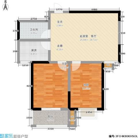 军蔷苑2室0厅1卫1厨85.00㎡户型图