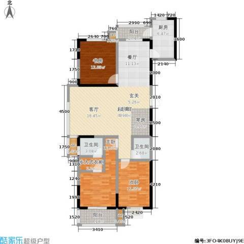 军蔷苑3室0厅2卫1厨140.00㎡户型图