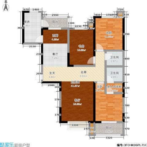 军蔷苑3室0厅2卫1厨133.00㎡户型图