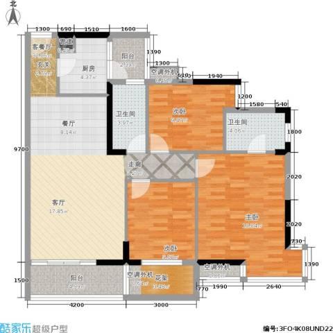 美林・银谷3室1厅2卫1厨116.00㎡户型图