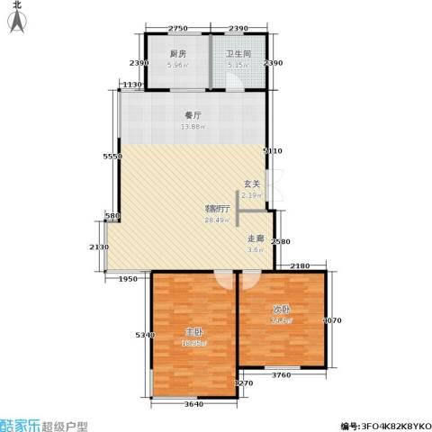 富雅豪临2室1厅1卫1厨92.02㎡户型图
