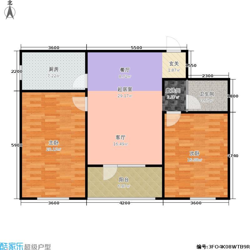 朗诗国际街区户型2室1卫1厨