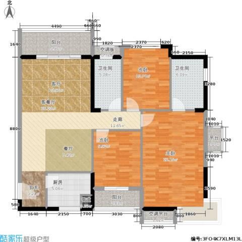 美林・银谷3室1厅2卫1厨118.00㎡户型图